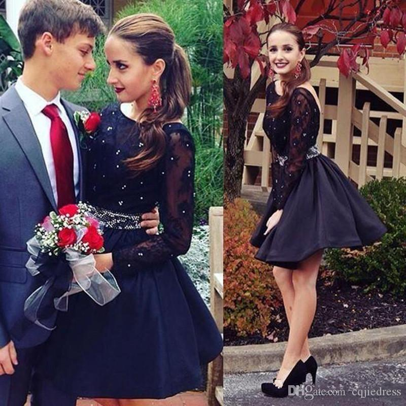 New Little Black Dresses Sexy Backless Short Prom Dresses Beads Crystal Bateau Beck Long Sleeves Cocktail Party Gowns Homecoming Dresses