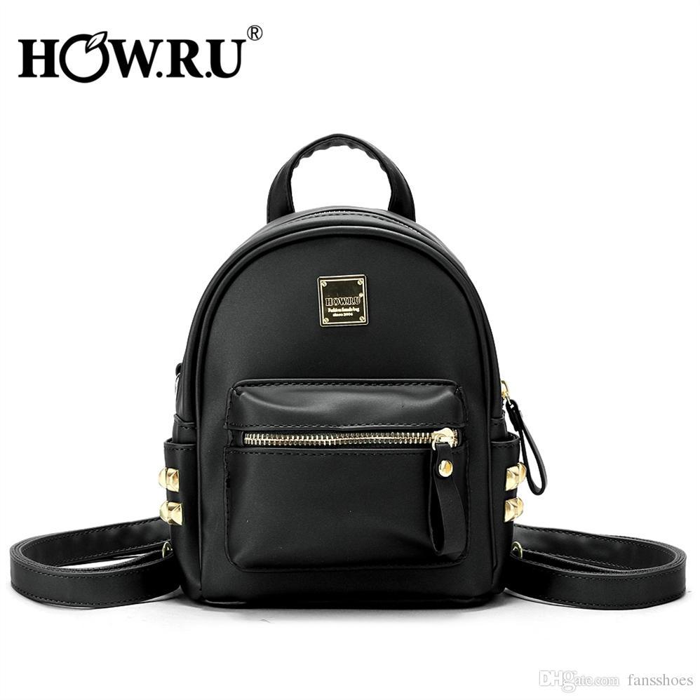 406eb325096 HOWRU Punk Hip-Hop Mini Backpack Women Rivets PU Leather Zipper Back Pack  Female Backpacks Casual School Bag for Teenager Girls #274558