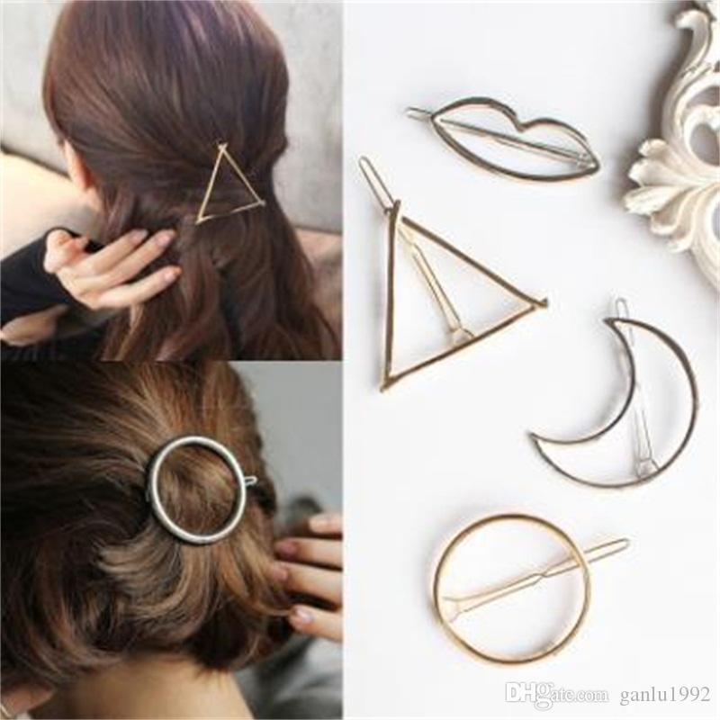 Girls Hairpin Geometric Triangle Moon Circle Barrettes Hair Geometry Accessories Ins Girl Girls Hairclips High Quality 0 67rl O1