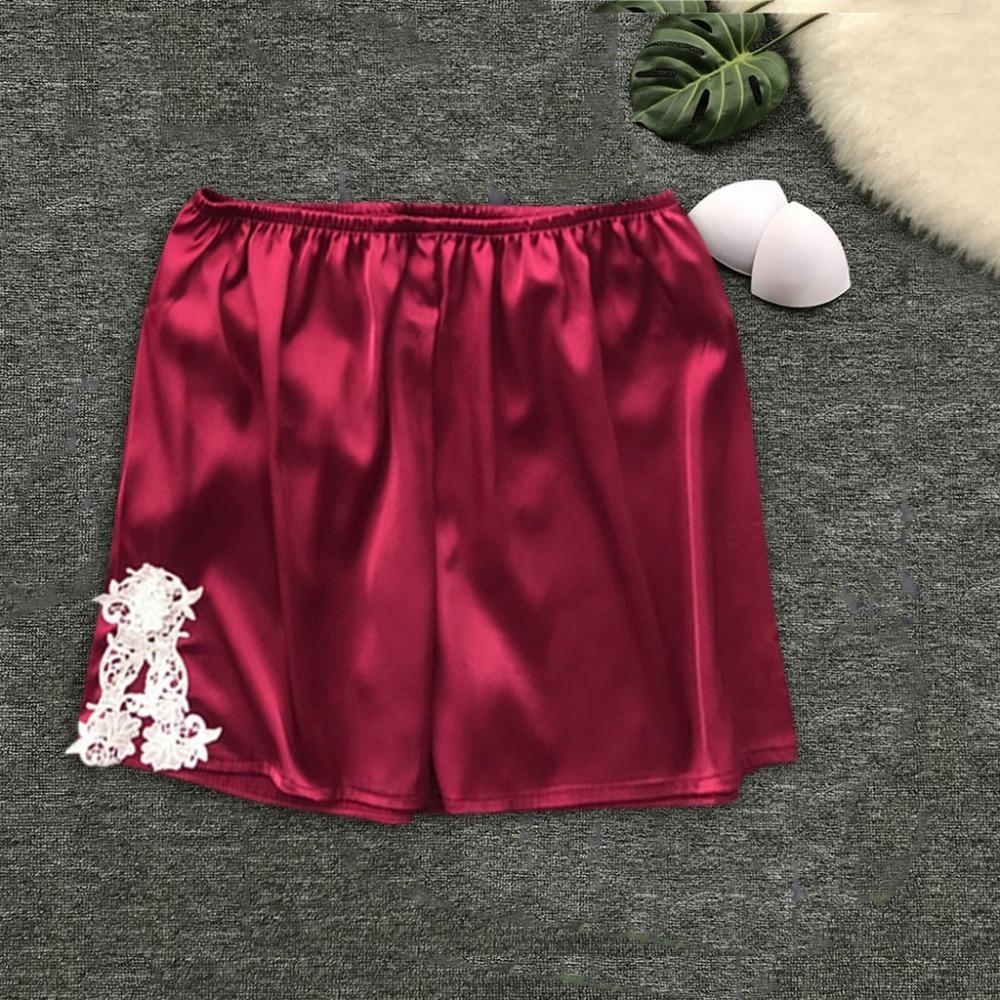 9a773845b 2019 Pajamas Shorts Pant Womens Sleep Bottoms Elastic Waist Shorts Casual  Costume Faux Silk Summer Nightwear Pijama Mujer Algodon From Beatricl