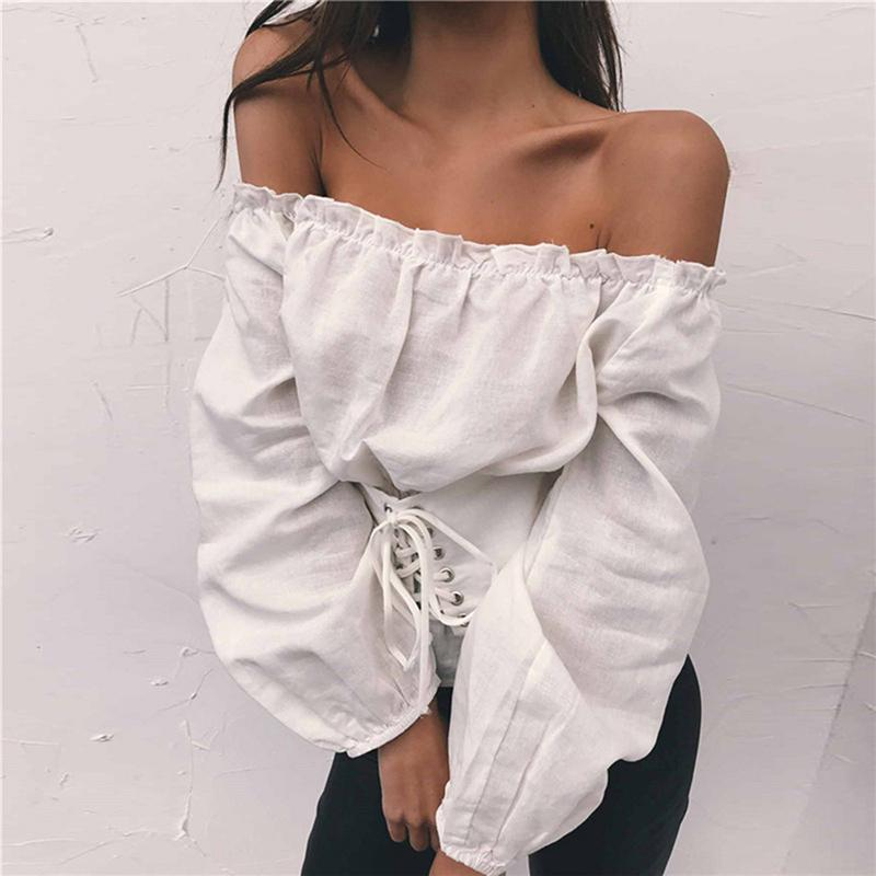 4aeb1148cf 2019 Streetwear Womens Tops And Blouses Lace Up Satin Corset Blouse Lantern  Sleeve Women Off Shoulder Top Corset Shirt Blusa Mujer From Fafachai08