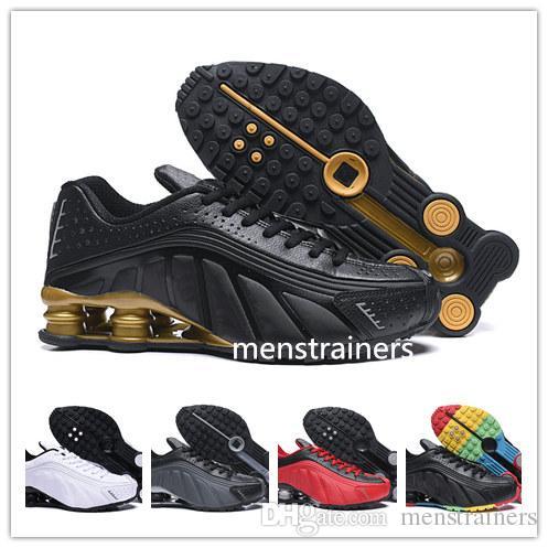 pretty nice 63795 8422c Acheter Gold Rainbow Shox R4 Hommes Chaussures Design Chaussures Chaussures  R4 Chaussures De Basket Zapatillas Hombre Nz Homme Baskets Sport Tn Taille  De ...