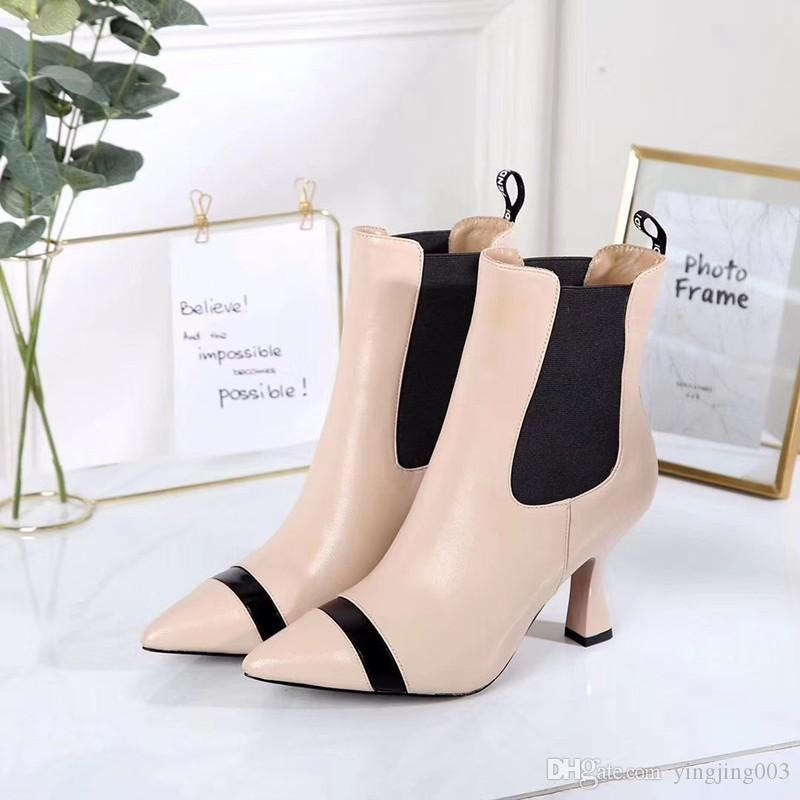 New Spring Fall Black Patent Leather Wedding Bridal Shoes For Bride Luxury Pointed Toe Letters High Heels Pumps Ladies Boots aey19090507