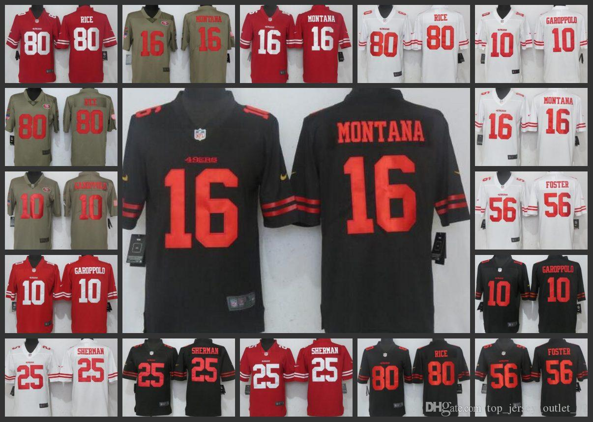 newest dc1a2 fe8d3 San Francisco 49ers Men Jersey #25 Richard Sherman 10 Jimmy Garoppolo 16  Joe Montana 56 Reuben Foster Women Youth Limited Jerseys