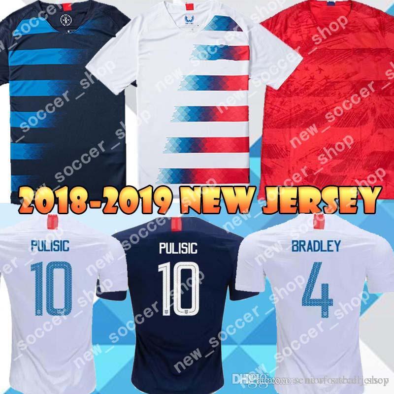 a5155ec6e 2019 Thailand Quality 10 PULISIC USA Soccer Jerseys BRADLEY DEMPSEY ...