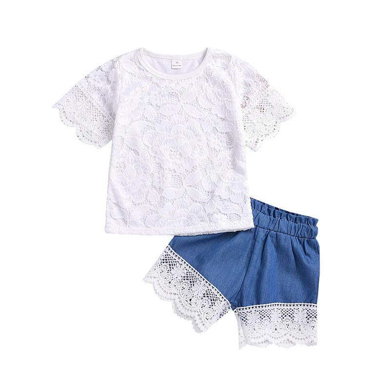 2019 new Summer lace Girls Outfits Boy Suit sweet Girl Suit white T shirt+shorts jeans 2pcs Kids Sets baby boy clothes kids clothes A4826