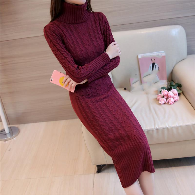 ef04c1e28cc Women Winter Knit Dresses 2018 Europe Long Sleeve Turtleneck Casual Slim  Warm Maxi Sweater Dress Plus Size Women S Clothing L 66 Summer Dresses For  Women ...