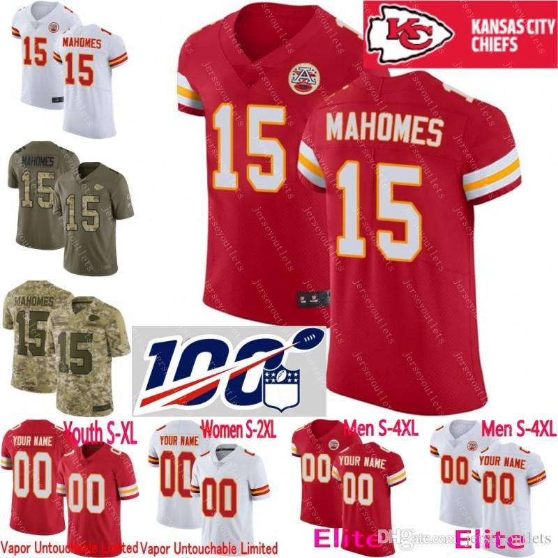 huge discount 1c3d1 16cfa 100th anniversary custom Men Youth women Kansas City Patrick Mahomes Tyreek  Hill Travis Kelce Eric Berry Chiefs Camo Elite Limited Jersey