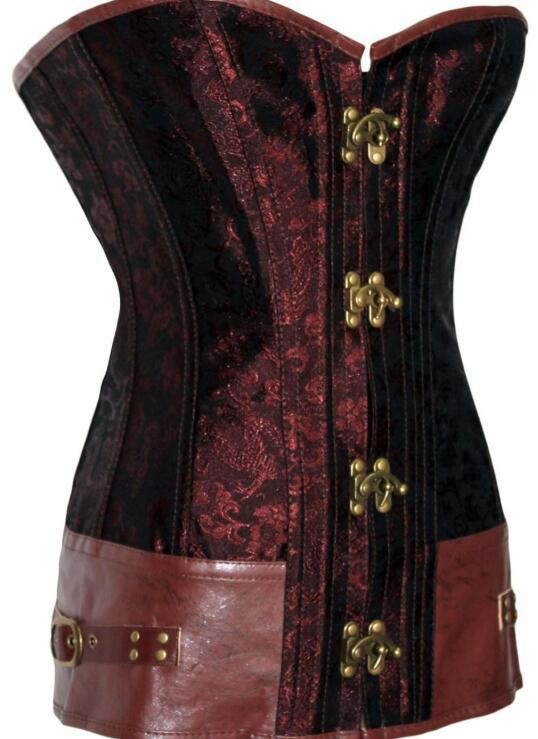 db662d6b7bf1cf -White/Black/Red Brocade Steampunk Corset with Clasp Fasteners LC5273  corsets and bustiers G-string new corpete corselet