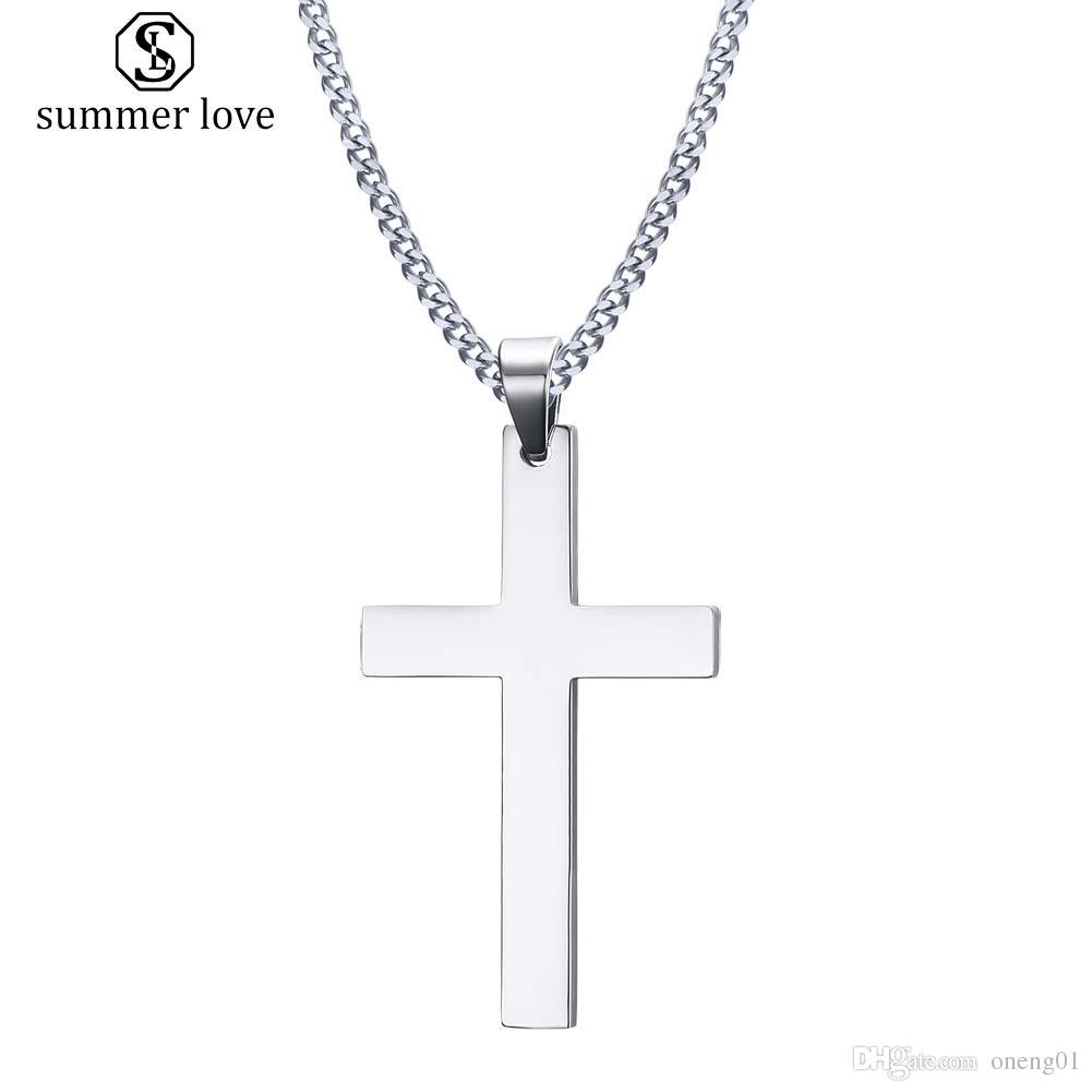 b37d2be3e8ca29 Wholesale Stainless Steel Simple Cross Pendant Necklace For Women Fashion  Silver Gold Plating Christian Pray Jesus Chain Necklace Jewelry Gift Round  Pendant ...