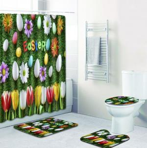 2019 Easter Shower Curtain Bath Polyester Fabric Waterproof 180180 With Mat Toilet Carpet Sets Egg Curtains Bathroom Tool GGA1532 From