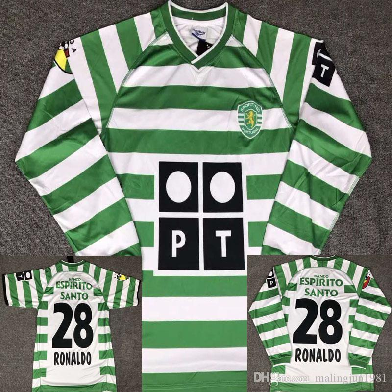 02 03 Sporting Ronaldo Portugal Fußball Trikot 2002 2003 Fußball Trikots von Lissabon, Fußball Trikots Ronaldo Fussball Modell Maillot