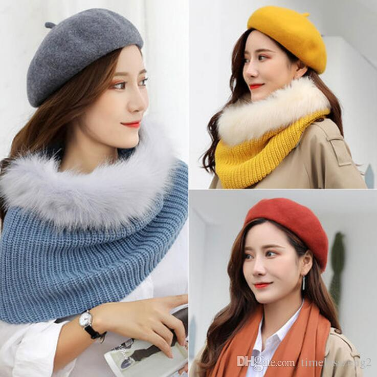 20b94eb87cf Womens Cashmere Beret High Grade Solid Beanie Painter Cap Bonnet Caps  Stretchy Flat Hat Stylish Trilby Winter Warm Outdoor Hats Women Beret  Beanie Warm ...