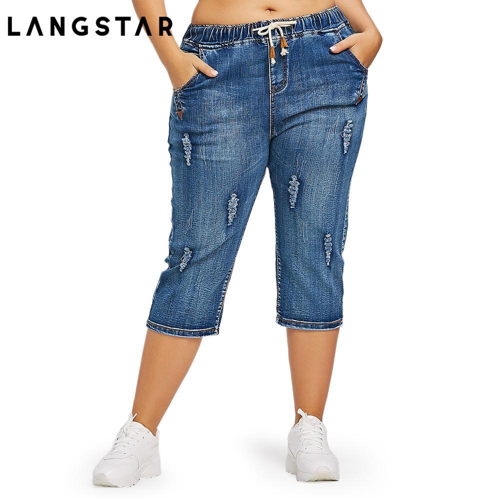 9ce8a339cd7 2019 Fashion Plus Size 4xl Drawstring Waist Boyfriend Capris Jeans Mom Women  Loose Ripped Distressed Denim Cropped Pants Big Size 4xl Y190430 From  Gou02