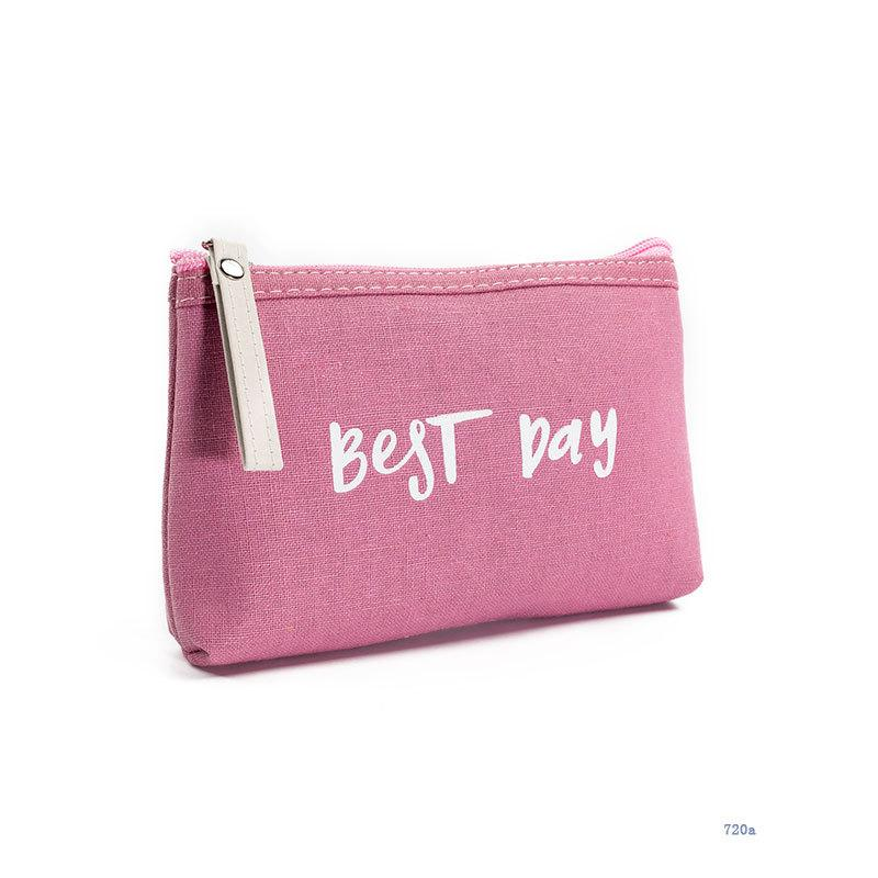 Hot Sale Letter Printing Cosmetic Bag Women Zipper Small Makeup Bags Travel Canvas Design Mini Lady Toiletry Bag