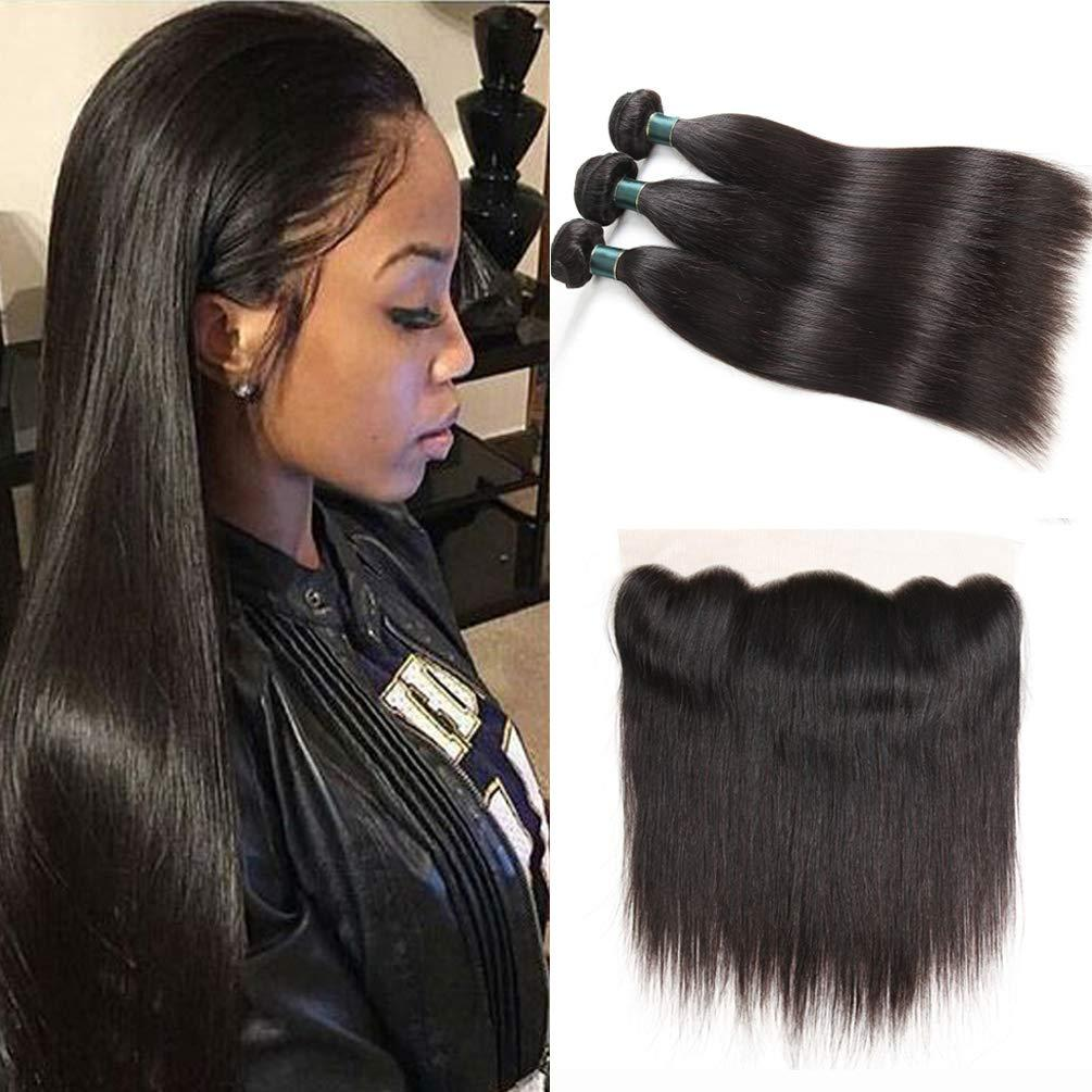 peruvian virgin hair straight 3 bundles 16 18 20 total with 13x4 ear to ear  lace frontal free part 14inch human hairs weave straight