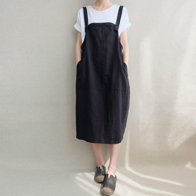 2905ff0bd68 2019 Women Kaftan Dress Sleeveless Bib Solid Cotton Linen Suspenders ...
