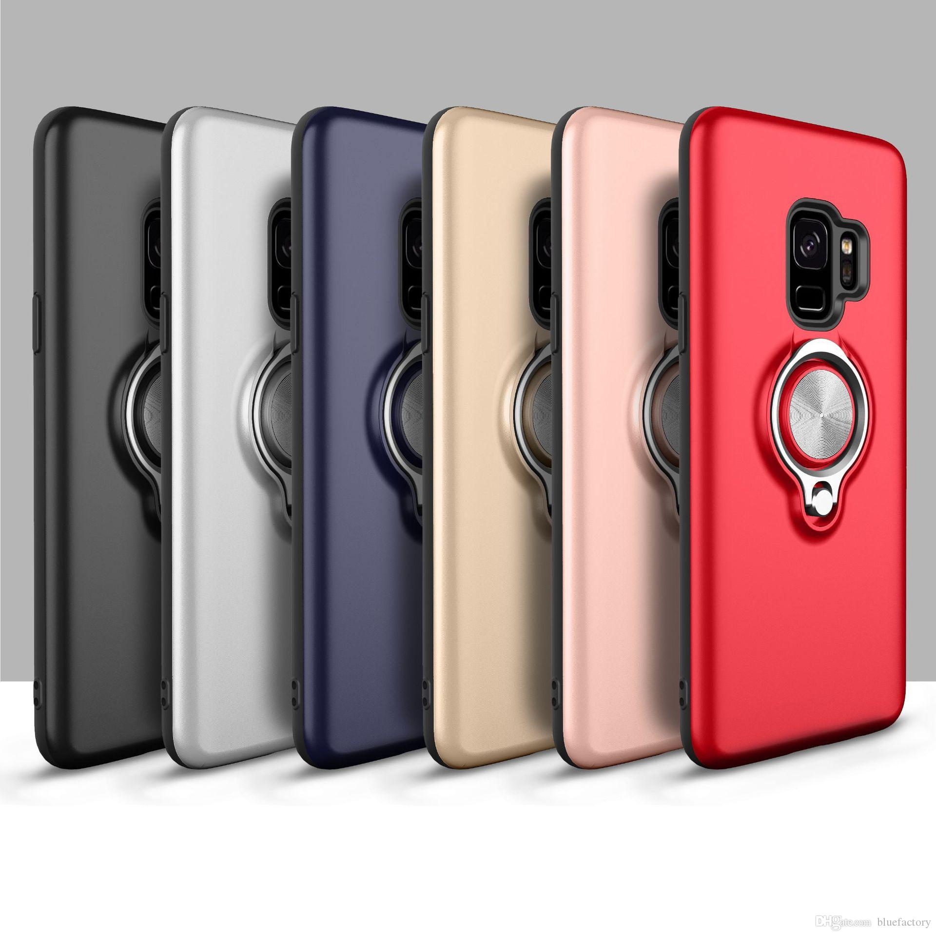 Smartphone Case With Stand Holder Kickstand 360 Degree Ratatation Hard Shockproof For Iphone X Xr XS Max 8 7 Plus Samsung Galaxy S8 S9 Plus Cell Phone Cover