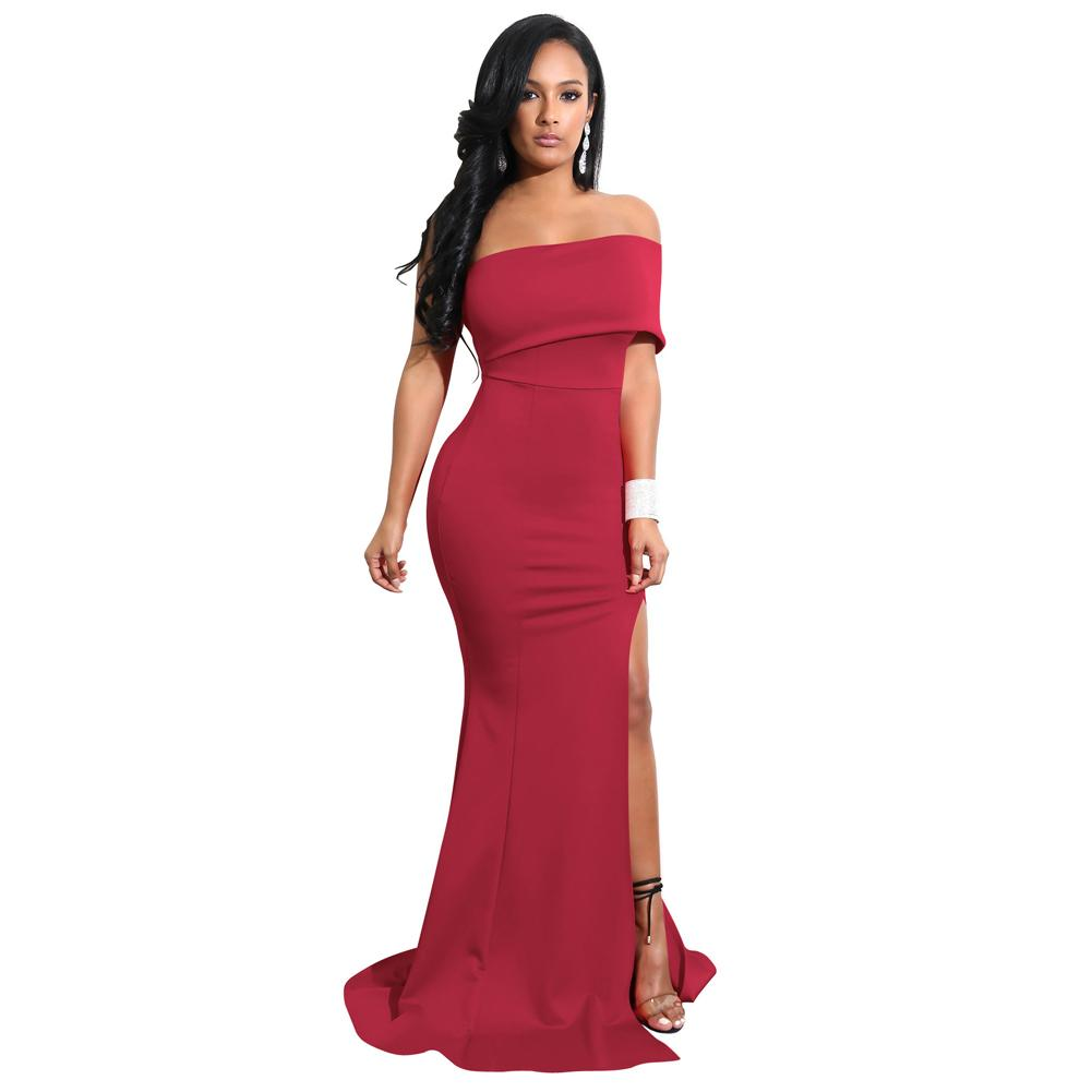 06080981f 2019 Elegant Women Mermaid Maxi Dress Sexy Off The Shoulder High Split  Formal Dress Solid Slim Fit Bodycon Long Party Dresses Dresses For Women Long  White ...