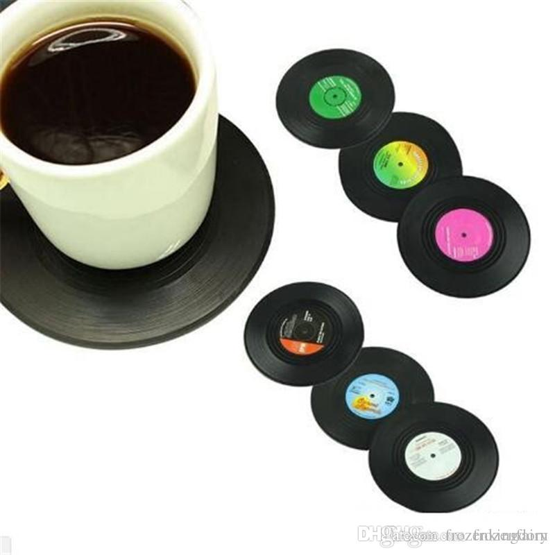 6PCS/set Retro Vinyl Coasters Drinks Table Cup Mat Home Decor CD Record Coffee Drink Placemat Tableware Spinning DHL Free Shipping