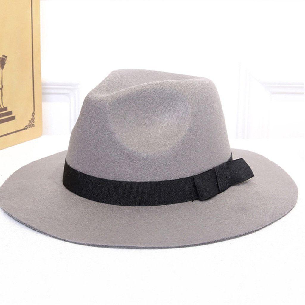 2019 ISHOWTIENDA Women Wool Fedora Hat With Leather Ribbon Gentleman  Elegant Lady Winter Autumn Wide Brim Jazz Panama Sombrero From Chuancai 015bc3e41b0