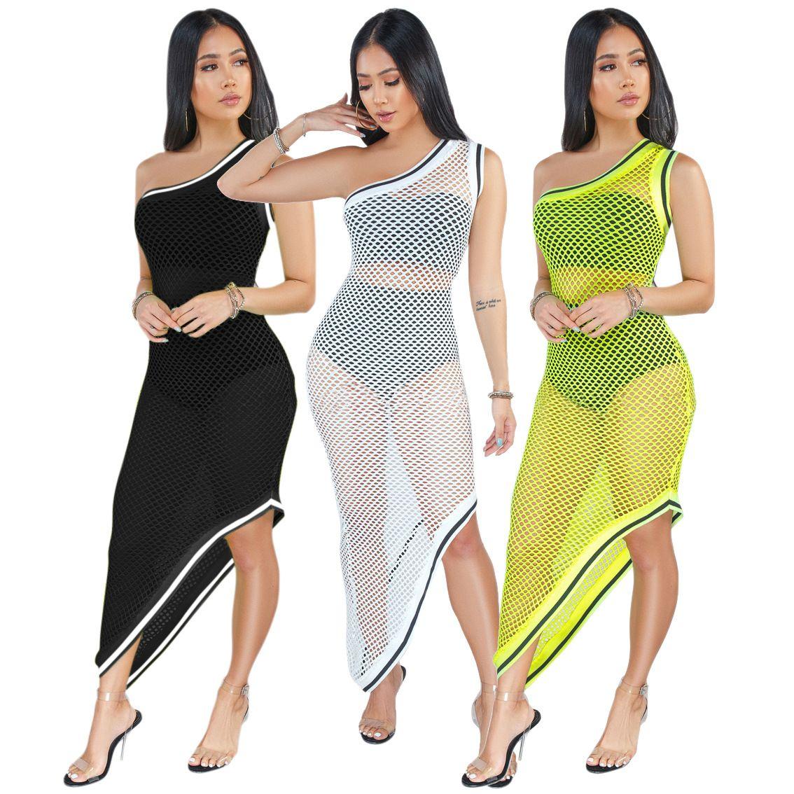 0bb05494854f3 2019 One Shoulder Bikini Cover Up Women Sexy Asymmetrical Maxi Beach  Dresses Solid Mesh Sleeveless Sun Dress Swim Wear White Black Yellow From  Hengytrade, ...