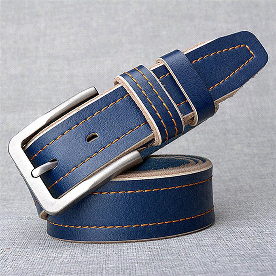 Fashion Casual Jeans Leather Belts Men Classic Cowhide Waist Straps Silvery Alloy Needle Buckle Belt Males Genuine Leather Belts Width 3.8cm