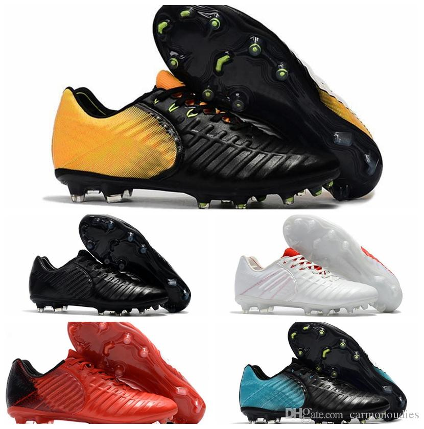 New Mens Low Ankle Football Boots Tiempo Legend VII FG Soccer Shoes Original Tiempo Totti X Roma Legend VII TPU Outdoor Soccer Cleats