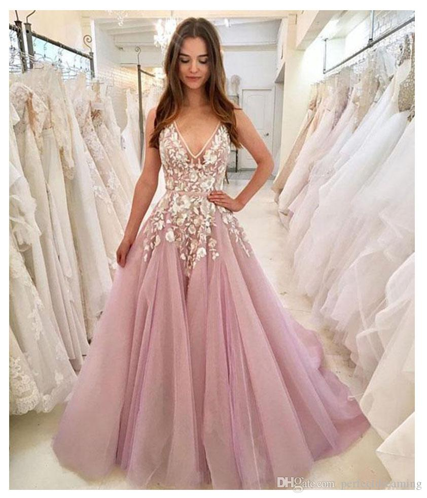 5545748b247a9 Elegant Sexy V-neck Evening Party Dresses Long 2019 Plunging 3D Flowers  Light Pink Formal Appliques Prom Dresses Custom Made Evening Gowns Pink  Prom Dress ...