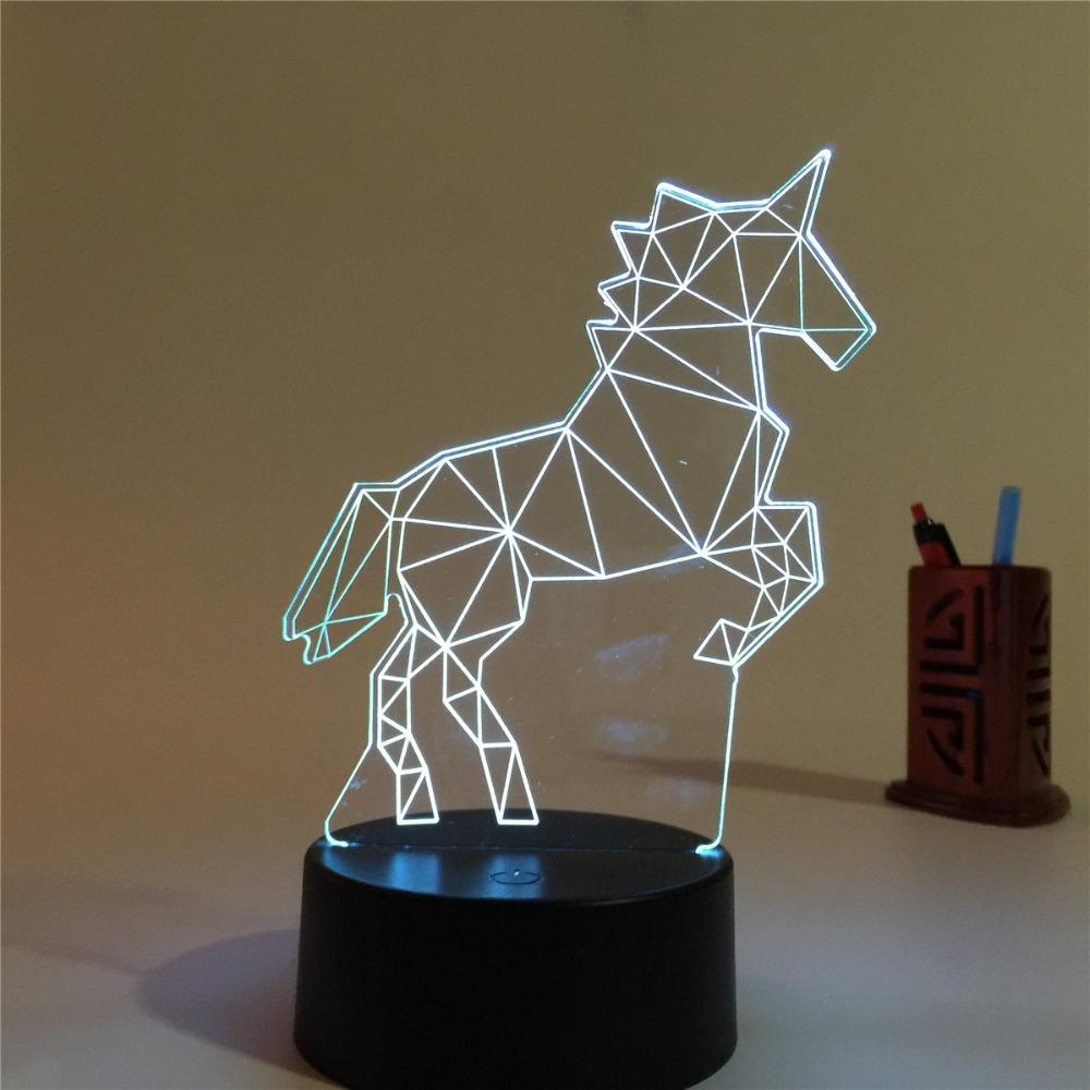 Acrylic lamp 7 Color Changing Horse 3D LED nightlight of bedroom lamp  livingroom lights desk table Decoration