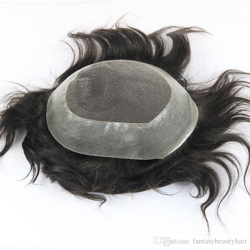 "100% Indian Human Hair Toupee for Men 8""x10"" Hairpiece Lace with PU Around Medium 130% Density Natural Black Color"