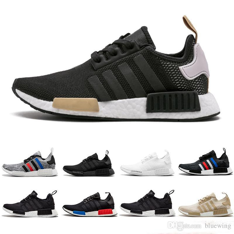 98096fc5a0378 2019 NMD R1 Primeknit Men Women Running Shoes OG Classic Japan Triple Black  White Beige Oreo Runner Athletic Sports Trainer Sneakers 36 45 Men Running  Shoes ...