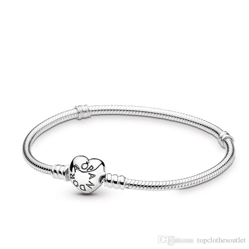 6de8677b461 2019 Luxury Designer pulsera de 925 sterling silver pandora iconic bracelet  for womens diy charms heart clasp chain smooth gift original box