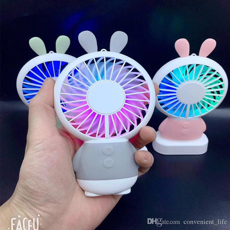Cute Rabbit Pocket Fan Mini Colorful Night Light Summer Cooling Fan with Rope Neck Hanging Air Conditoner Outdoor Portable Rechargeable Fan