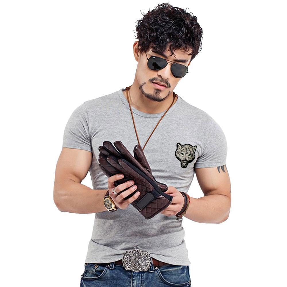 Brand Men's Wolf Embroidery Tshirt Cotton Short Sleeve T Shirt Spring Summer Casual Men's O Neck Slim T-Shirts Good Size S-5XL