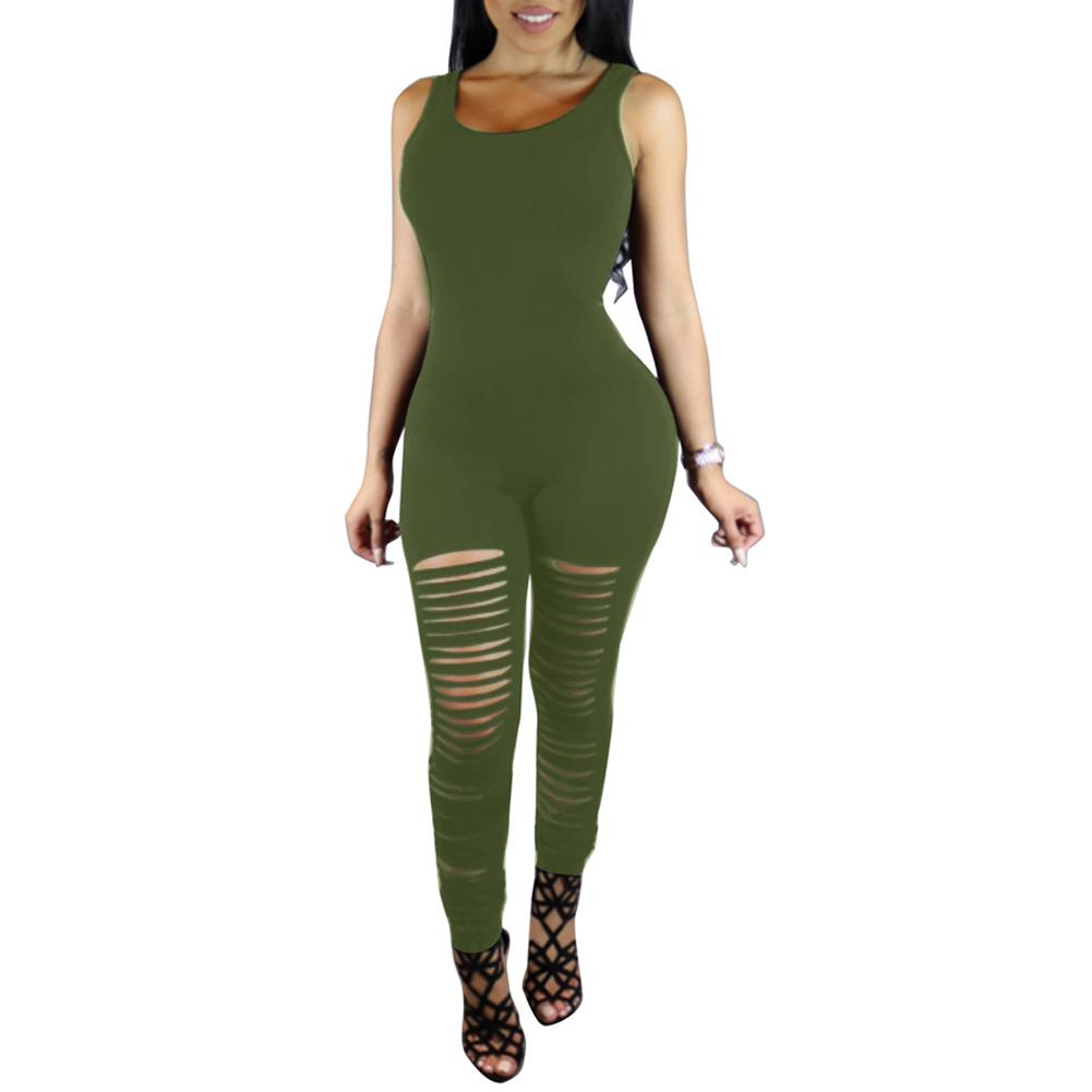 5928cb90c94 2019 Sexy Sleeveless Bodycon Fitness Jumpsuit Women Ripped Cutout Club  Bodysuit Female Rompers Punk Playsuit Long Catsuit From Illusory02
