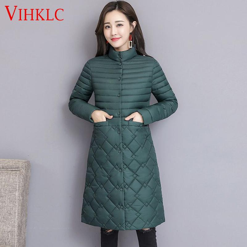 59f7e3cebd0 2019 Thin Cotton Padded Quilted Jacket Women Parka Female Coat Slim Stand Collar  Long Snow Clothes Warm Outwear 2019 Plus Size C492 From Gavinuni