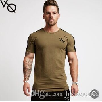 VQ Men T Shirt short Sleeve Patchwork round Neck T-shirt Cotton Tees Tops Mens Fitness Brand Tshirt Men Gyms Clothing Bodybuilding Tops