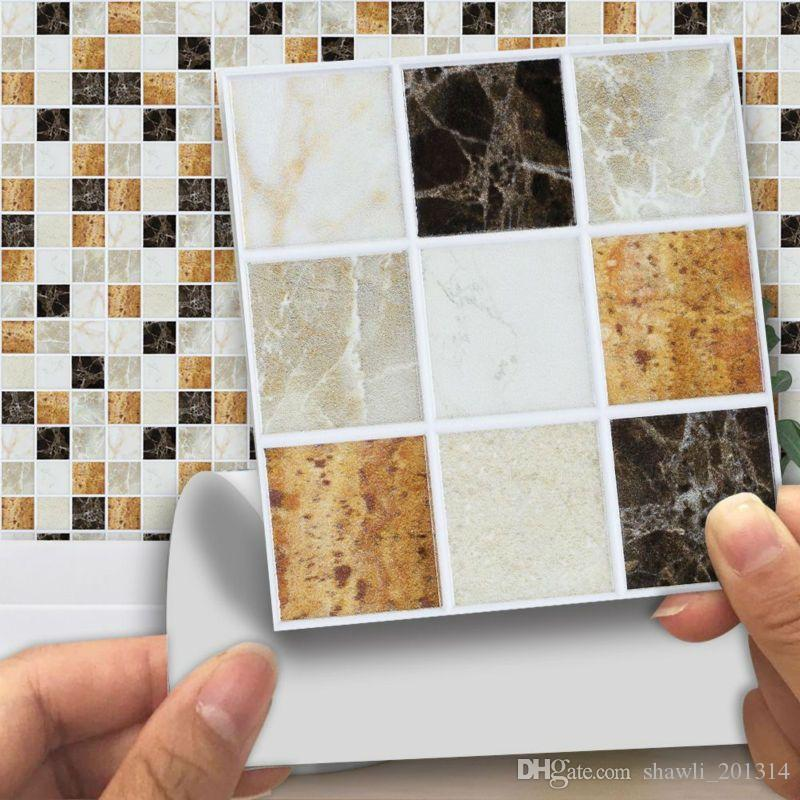 New 3D marble mosaic wall sticker Self Adhesive Mosaic Tile Wall decal Sticker DIY Kitchen Bathroom Home Decor Kitchen bathroom waterproof
