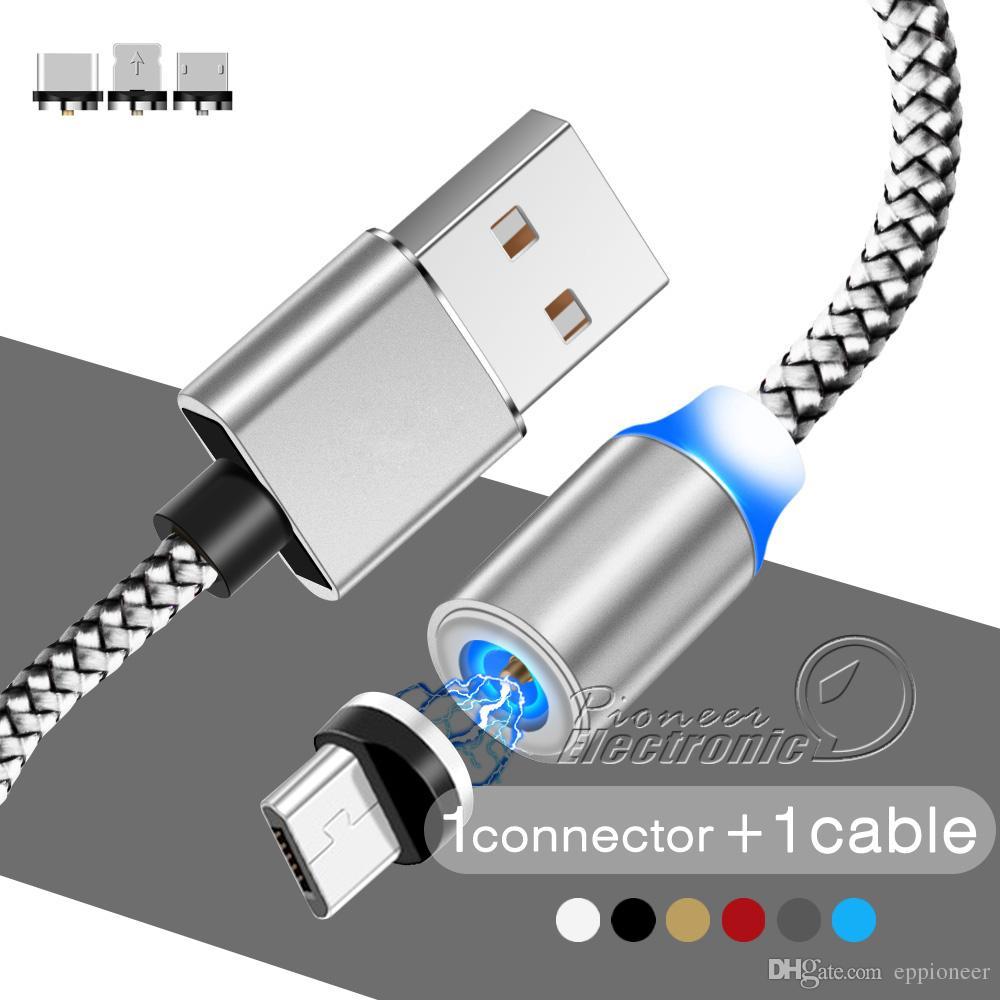 f3f17bb2870 Mas Accesorios Celulares 3 En 1 Cable De Cargador De Succión Magnético LED  Nylon Más Fuerte Cable De Imán De Metal 1M Android Micro USB Tipo C Cable  Para ...