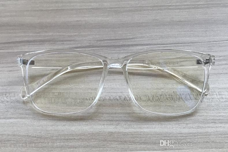176d769e7a70 Light Square Translucent Clear Plastic Frame Transparent Mens Women