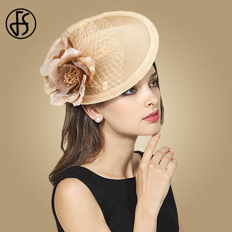 f4dfa4683 FS Vintage Camel Wool Fascinators Wedding Hats For Women Elegant Flowers  Veil Lady Fedora Party Hat Felt Fedoras Cheap Fedoras FS Vintage Camel Wool  ...
