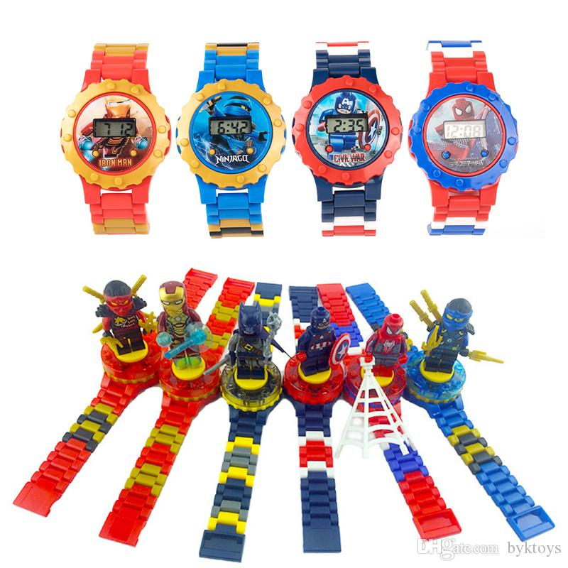 Super hero Watches DC Marvel Avengers Action Figure Toys Cartoon Building Block Watch for Kids Boys Girls Christmas Gift With Original Box