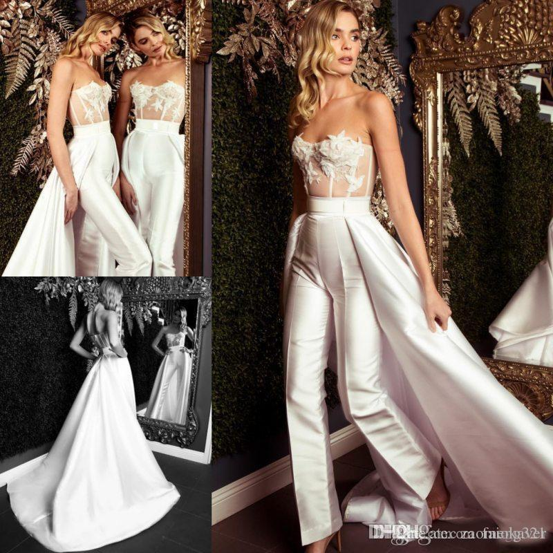 7f580c0f999 White Overskirt Jumpsuit Prom Dresses Strapless Neck Beaded Evening Gowns  Sweep Tran Vestidos De Fiesta Satin Appliqued Formal Dress Stylish Prom  Dresses ...