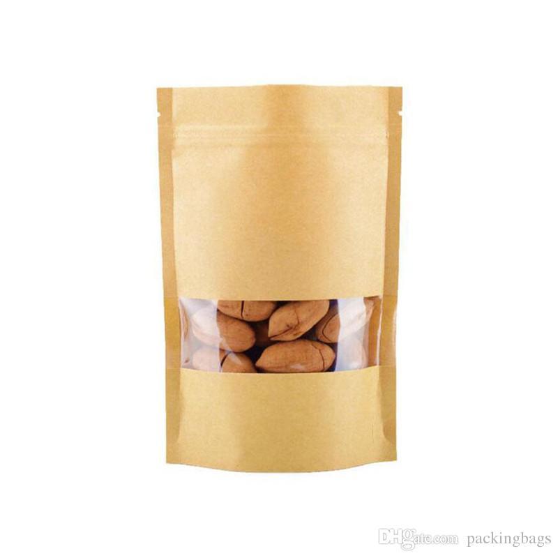 467481449 Compre 9x14cm Bolsas De Alimentos Bolsas De Papel Kraft Marrón A Prueba De  Humedad Con Ventana Doypack Bolsa Ziplock Embalaje Para Refrigerios  Galletas A ...