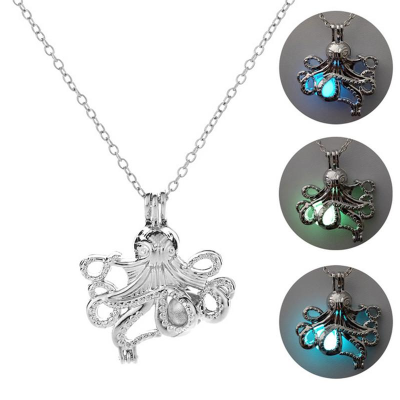 f2b772a41f0 Wholesale Octopus Charms Necklace Sea Animals Luminous Pendant   Chain For  Men Women Silver Color Streetwear Jewelry Hip Hop Jewelry Gift Jewelry  Design ...