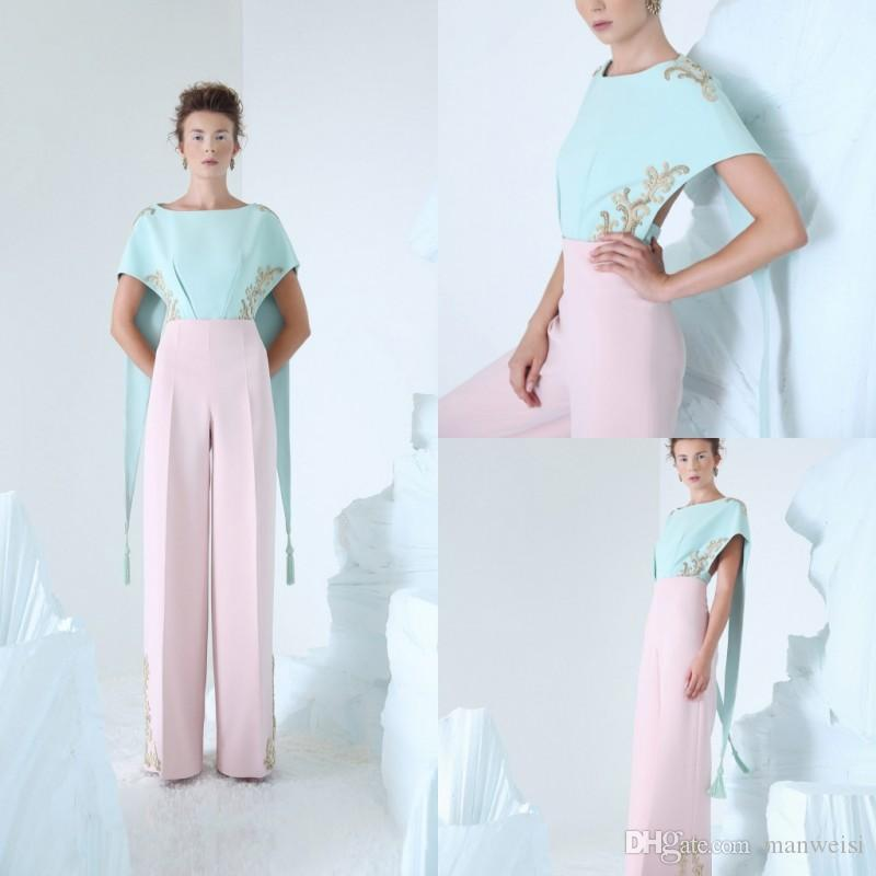 1b54c2d46d7 Azzi Osta 2019 Jumpsuits Prom Dresses With Cape Embroidery Jewel Neck Pink  Pants Celebrity Party Gowns Floor Length Formal Evening Dress Make Your Own  Prom ...
