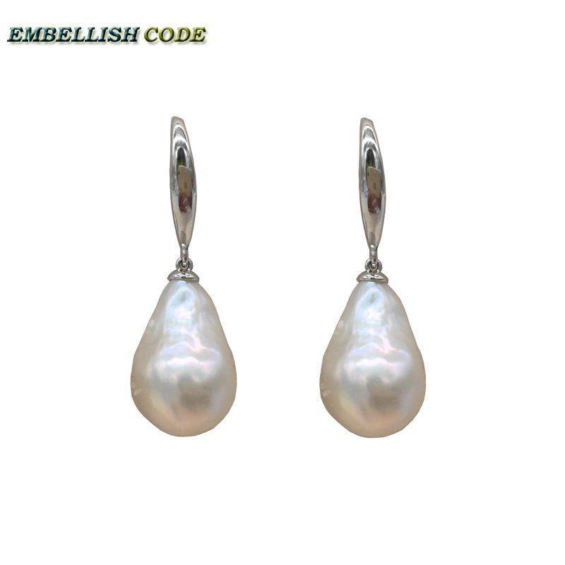 3ab300833f0dc Special Normal Size Baroque Pearl Nucleate Stely Hooking Earring Flame Ball  Shape White Natural Freshwater 925 Sterling Silver C19041101