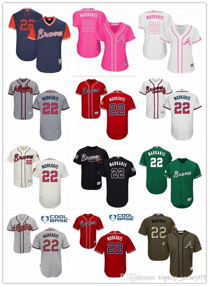 new product ad467 84386 2018 top Atlanta Braves Jerseys #22 Nick Markakis Jerseys  men#WOMEN#YOUTH#Men s Baseball Jersey Majestic Stitched Professional  sportswear