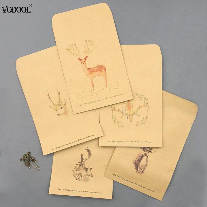 Acheter Vintage Deer Paper Envelope Cute Mini Enveloppes Salutations Pour Carte De Visite Scrapbooking Papeterie Cadeaux 3385 Du Newcute